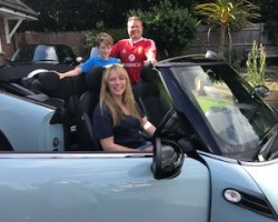 Clare has collected her 2011 MINI Cooper Convertible in Ice Blue with Chili Pack & Low Miles Just 19K!