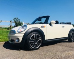 2010 MINI Cooper Convertible in Pepper White with Chili Pack & Half White Leather with LOW MILES