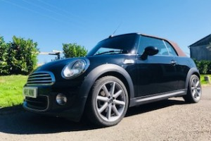 2014 / 64 LIMITED EDITION MINI ONE HIGHGATE CONVERTIBLE in Midnight Black with Truffle Hood & Huge Spec