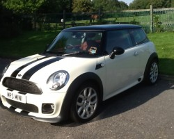 Gabrielle is taking this MINI to Welsh Wales to live with her….   2010 / 60 MINI COOPER 1.6 with Full John Cooper Works Bodykit & Full LOUNGE Leather Sports Seats
