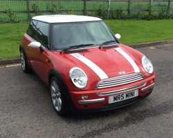 WE ARE TAKING BETS ON HOW SANTA GOT THIS Christmas Present MINI DOWN the CHIMNEY!!  2003 MINI COOPER with CHILI PACK 7 service stamps – Ideal for lost Helicopter Pilots – look at the roof!