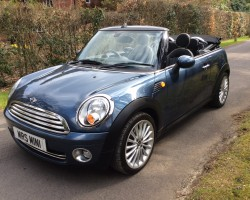 Juliette has decided this could be her Wedding Car, Congratulations…..   2009 MINI Cooper Convertible in Horizon Blue with Bluetooth, Full Leather Heated seats & so much more