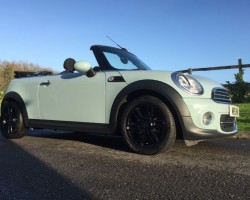 Clare has chosen this 2013 MINI Cooper Convertible in Ice Blue – 14500 Miles – Chili Pack