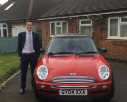 "Too Late, ""George""  is off to her new home soon…. With JOSH – enjoy your music you two !!!   2004 MINI Cooper With Chili Pack in Red with Low Miles"