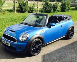 Maggie chose this 2011 Mini Cooper S Convertible in Lazer Blue with Huge Spec – the second time we sold this MINI too!