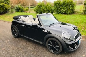 2013 Mini Cooper S Convertible in Black with White Full Leather Interior